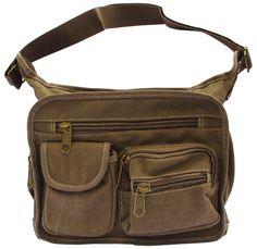 Brown Canvas Travel Shoulder Bag - Front