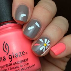 Flower with China Glaze Flip Flop Fantasy and OPI Berlin There Done That. By @La_Manisera on Instagram.