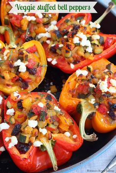 Packed with a tasty mixture of vegetables, pine nuts and raisins, these flavorful stuffed bell peppers are perfect for an easy weeknight dinner