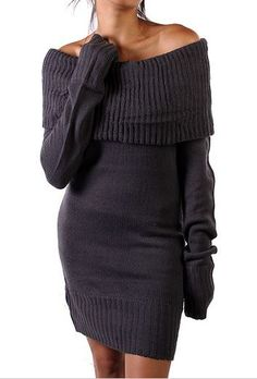 Charcoal Ribbed Off-Shoulder Sweater Dress