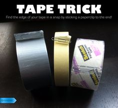 Don't waste time searching for the end of your tape another minute! This easy trick is ingenious. #lifehack #tape #paperclip