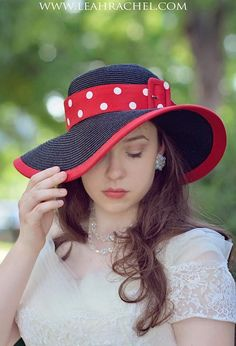 Kentucky Derby Hat Black Hat with Red Trim and Polka Dots