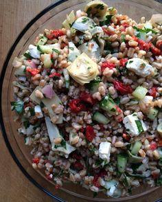 Mediterranean Farro Salad - Emily Always Cooks #MeatlessMonday
