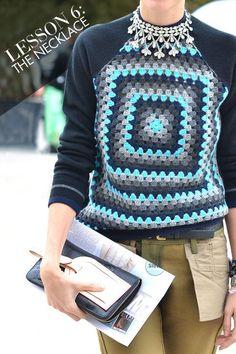 nice idea: crochet granny square + fabric T-shirt sleeves