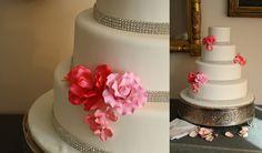 White Wedding Cake with Rhinestones and Pin Flowers