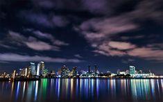 Night lights of San Francisco downtown skyline.