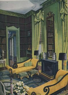 Drawing by Sheridan Kettering in the Sept 1948 House & Garden. Interior by Billy Baldwin while he was with Ruby Ross Wood via The Peak of Chic