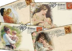 Digital Download Mothers Post Cards-Scrapbooks,Tags, Cards by sssstudio
