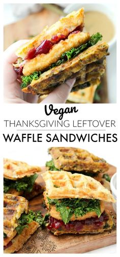 Vegan Thanksgiving Leftover Waffle Sandwiches - This Savory Vegan