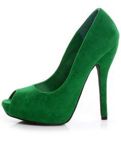 kelly green peep toes