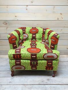 "Green and Orange Rolling ""African"" Club Chair"