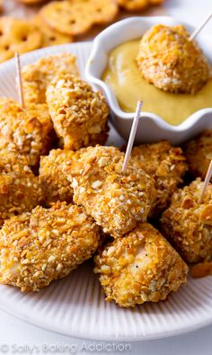 Pretzel Crusted Chicken Fingers - a fun way to serve up some chicken for the family and guests. These disappear quickly! sallysbakingaddiction.com #recipe