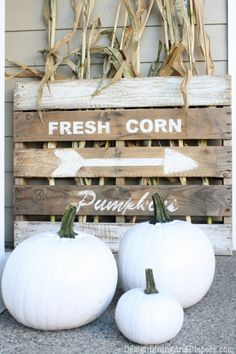 Neutral Fall Porch by Design, Dining + Diapers, neutral fall decor, white pumpkins, corn stalks, Vintage Farm house signs, gray door, fabric wreath, burlap bunting house signs, porch decorating, pallet signs, fall porches, lawn decorations, white pumpkins, pumpkin designs, neutral fall, farm houses