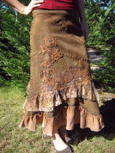 Embellished Bronze Denim Skirt [3462] - $30.00 :: DCM Apparel - Modern Modest Clothing