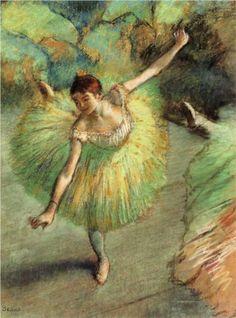"""Dancer Tilting"" -- Circa 1883 -- Edgar Degas -- French -- Pastel -- Private Collection"