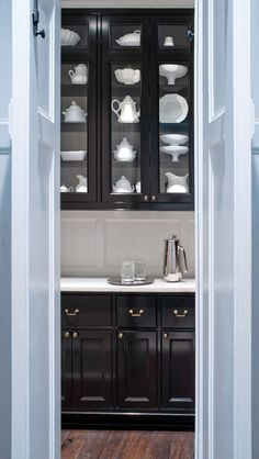 interior, display cabinets, butler pantri, black kitchen, black cabinets, butler pantry, pantries, white dishes, kitchen cabinets