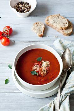 "Roasted Tomato Soup & Tomato Parmesan ""Croutons"" by tartelette, via Flickr"