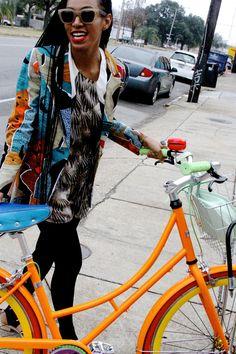 Brights! Bicycle frame + jacket.