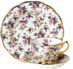 Royal Albert - 100 Years of Royal Albert Collection - Series www.royalalbertpatterns.com - English Chintz 1940's  In the 1940's Britain endured a 2nd World War, with many historic battles and events. It is Winston Churchill who is best remembered for bringing the 2nd World War to a close. English Chintz is a pretty floral pattern typical of the chintz styles of the decade, with delicate roses and forget-me-nots against a crackle background.