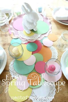 an easy Spring tablescape - with paper! - Nest of Posies