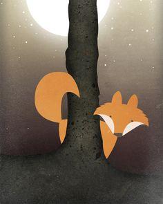 Forest Fox Original Illustration Giclee Print, 8 x10 Print. $9.99, via Etsy.