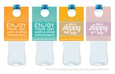 MOPS Plunge - Free #Printable Water Bottle Labels. Make someone happy with a Random Act of Kindness.  Designed by Amy Locurto at LivingLocurto.com  @Jamie Willis we should do these for our Moppets workers, so cute and springy!