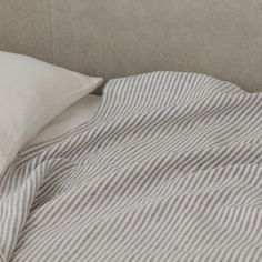 Image of Chambray Linen Blanket: Navy Stripe $124