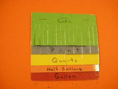 MEASUREMENTS:  Great way to show the difference between cups, pints, quarts, 1/2 gallon, and gallon