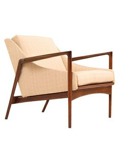 Ib Kofod Larsen; Walnut Lounge Chair for Selig, 1950s.