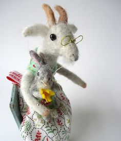 Original Needle Felted Granny Goat with Little Bunny