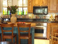 Kitchen backsplash with Talavera Tiles - Latin America and Mexico home decor interior design