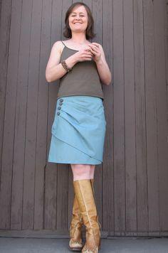 Women's Wrap Skirt TheHazel Sky Blue Teal wrap skirt by sweetcycle