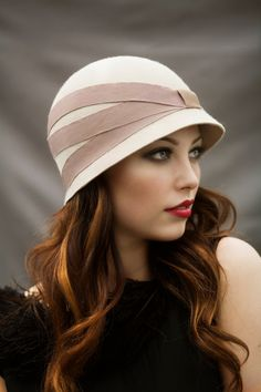 Gorgeous red hair color with highlights (golden or caramel?) Day Cloche Hat by MaggieMowbrayHats