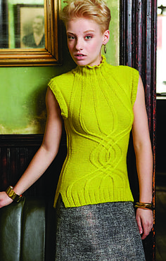 Fabulous pattern. I'm excited to make one! Helix Cabled Vest Vogue Knitting Winter 2013 Back