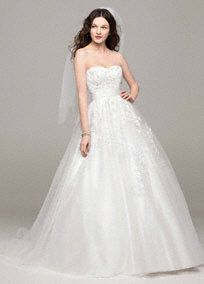 Classically styled and beautifully designed for the perfect look on your wedding day!  Strapless bodice features stunning beaded lace applique detail.  Tulle ball gown adds just the right amount of drama.  Chapel train. Sizes 0-14.  Available in Soft White in store and online. Whiteavailableby special order only.  Woman: Style 9MK3666. Sizes 16W- 26W. Available by special order only.  Fully lined. Back zip. Imported polyester. Dry clean. To preserve your wedding ...
