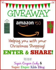 Giveaway: Win a $50 Amazon Gift Card!! http://www.supercouponlady.com/giveaway-win-50-amazon-gift-card/  ENDS Friday, November 28th at 10:59PM EST