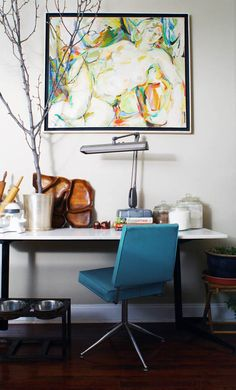 blue chair, house tours, office spaces, office desks, work space
