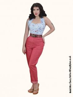 1950's Red Denim Jeans (to be cuffed) ($123), have my EXACT size.