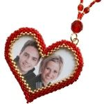 bead valentin, photo frame, bead heart, valentin beadwork