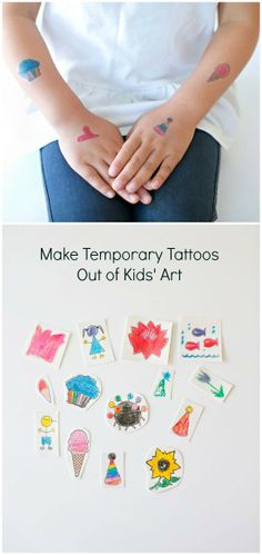 Turn your kids' creative art into fun temporary tattoos they'll love to show off.