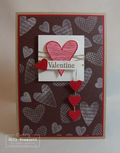 SU! I {Heart} Hearts stamp set (retired) in Chocolate Chip and Real Red - Gill Prescott