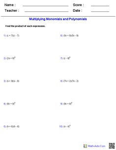 adding and subtracting polynomials worksheets   math aids