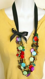 Ribbon Necklace Variations~ Lengthen your necklaces with ribbon.- make with paper rounds