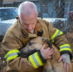 This is Corky and one of the firefighters who saved his life.