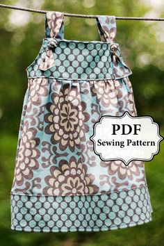 PDF Apron Knot Dress Sewing Pattern Sizes 3 month - Girls 8
