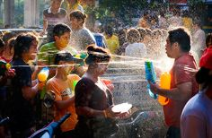 Giant water fight in Thailand to celebrate the Buddhist New Year!