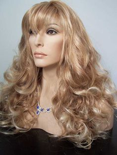 Wig, Carlotta, Wig America, Strawberry Blonde tipped with Pale Blonde