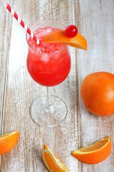The Hurricane - 2 oz grenadine, 1 ½ oz light (silver) rum, 1 ½ oz dark (gold) rum, 1 ½ oz orange juice, 1 ½ oz pineapple juice, ½ oz triple sec, and ½ oz lime juice