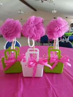 Spa party centerpiece. Loofah centerpiece