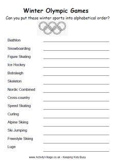 Winter Olympics alphabetical order, olympics worksheet